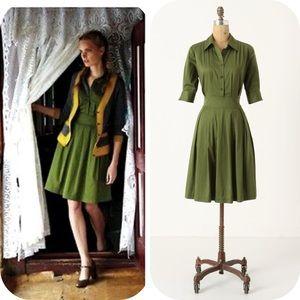 Vintage-esque Timeless Chic Green Ihrin Shirtdress